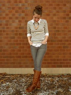 what would a nerd wear: striped sweater: ll bean, white button-up: banana republic (old),cords: loft,boots: steve madden