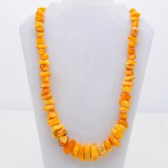 Honey Golden Polished Amber Nugget Necklace   VintageAnelia - Jewelry on ArtFire
