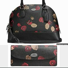 NWT COACH bundle Cora satchel & matching wallet Listing includes matching handbag & wallet. Full size Cora domed satchel in black floral print coated canvas. Both NWT perfect condition  NO TRADES. Coach Bags Satchels