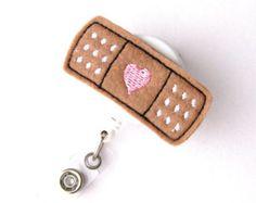 Bandage Heart - Name Badge Holder - Cute Nurse Badge Reels - Retractable ID Badge Holder - Felt Badge Reel - Peds RN Badge - BadgeBlooms