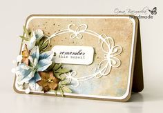 card with flowers & tiffany frame die - label sentiment