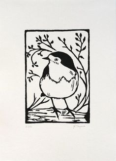You'll only find the finest handmade prints on Artfinder. Limited editions only, and not a poster in sight. Robin Drawing, Animated Wallpapers For Mobile, Stamp Carving, Linoprint, Rock Crafts, Linocut Prints, Lovers Art, Making Ideas, Printmaking