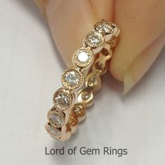 Stackable Classic Bezel .72ct Diamonds 14k Rose Gold Wedding Eternity Band Milgrain Ring,Anniversary Ring