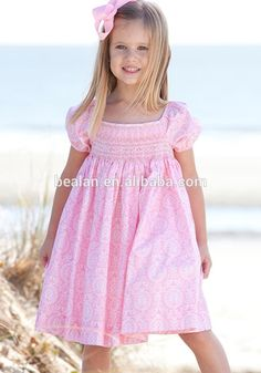 2015 Lovely Pink Party Smocked Bishop Dress