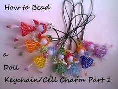 Part 1 of 4 Materials used: Nylon Monoline Glass beads or Seed beads (Black for hair, White or other for arms and legs, other colors for dress, loop a. Baubles And Beads, Beaded Ornaments, Beads And Wire, Beaded Jewelry Patterns, Beading Patterns, Crystal Beads, Glass Beads, Seed Bead Crafts, Crochet Rings
