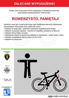 Zalecane wyposażenie rowerzysty! / Recommended equipment cyclist! #rower #edukacja #ulotka #infografika #bike #education #leaflet #infographic