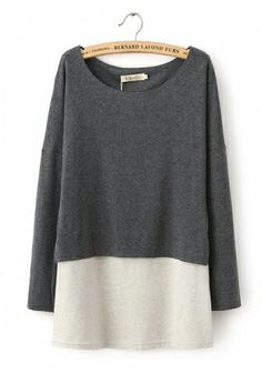 Grey Blending Round Neck Long Sleeve Patchwork TOPS