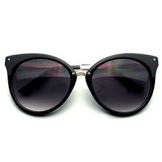 Pointed Horn Rimmed Indie Retro Cat Eye Sunglasses Metal Studs