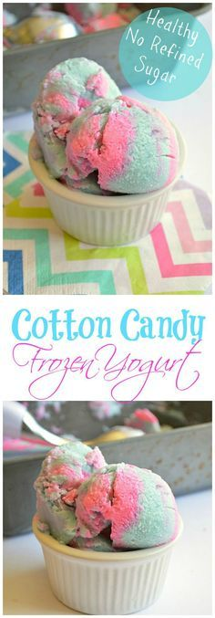 Cotton Candy Frozen Yogurt. Perfect snack for the kids with NO refined sugar. A healthy and fun dessert recipe.