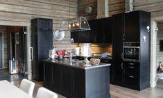 Laftekompaniet hytte 2 Mountain Cottage, Cabin Interiors, Cabin Homes, Modern Rustic, Liquor Cabinet, Kitchen Dining, Sweet Home, New Homes, Interior Design