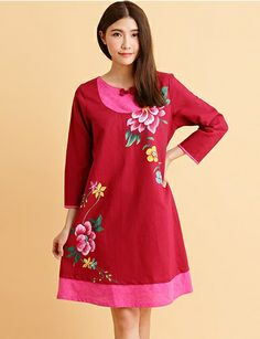 Modern Chinese Qipao Dress: Spring Peony (Red/ Black/ Purple) $95.00 (71,57 €)