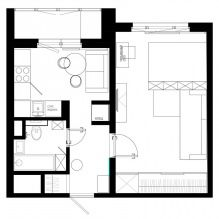 Дизайн однокомнатной квартиры площадью 36 кв. м.-2