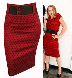 Red with Black Polka Dots Waist Belt Skirt by Switchblade Stiletto $40. I love this skirt