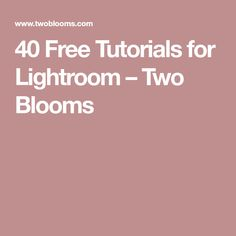 40 Free Tutorials for Lightroom – Two Blooms