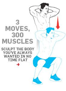 Work 300 muscles in just 3 moves with this workout.--Good for travel, if there's no gym handy. Fitness Goals, Fitness Tips, Health Fitness, Men Health, Quick Full Body Workout, Forma Fitness, Body Weight, Weight Loss, Nutrition Sportive