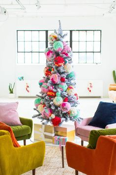 Home Decor DIY's : Our new studio seating area, jumbo pom pom ornaments, and how we decorated the studio for Christmas all in one big hoorah! Bohemian Christmas, Modern Christmas, Christmas Love, Vintage Christmas, Christmas Holidays, Merry Christmas, Christmas Crafts, Colorful Christmas Tree, Christmas Aesthetic