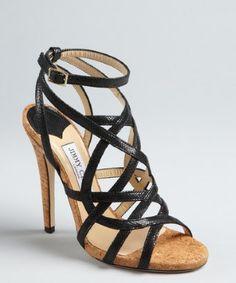 Jimmy Choo: black snake embossed leather strappy 'Delhia' sandals