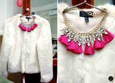 #topshop #fauxfur #furcoat #whitefur #fakefur #topshopwinter #winter #jacket #coat #luxury #necklace #tassles #fringes #gems #jewel #jewellery #fashion