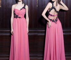Backless Prom Dress,Long Prom Dress,Appliques Evening Dress,One Shoulder