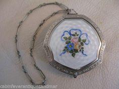 Antique Silver Pink Floral Blue Bow White Guilloche Enamel Dance Purse Compact   eBay