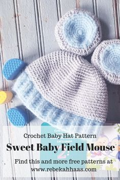 Free beginner-intermediate level crochet pattern perfect for the adorable new baby in your life! Crochet Baby Hat Patterns, Crocheting Patterns, Crochet Baby Hats, Crochet For Kids, Free Crochet, Baby Mouse, Half Double Crochet, Free Knitting, 12 Months