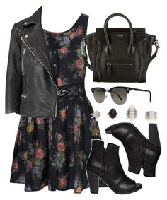 Classic Aria look. Floral feminine shirt waist defining dresses and edgy jackets. Teen Fashion Outfits, Look Fashion, Fall Outfits, Cheap Fashion, Runway Fashion, Fashion Trends, Cute Casual Outfits, Pretty Outfits, Mode Rockabilly