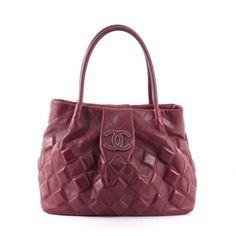 Chanel Burgundy Leather Sloane Square Tote Bag