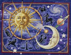 Precioso gráfico de horóscopos, sol y luna...
