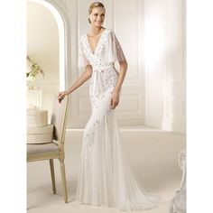 Unconventional Floor Length Beaded Mermaid Wedding Dress