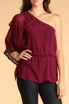 One Shoulder Top With Sparkle Trim In Mulberry.