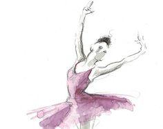 Ballerina Art Print Purple Blue Tutu Ballerina by EwArtStudio