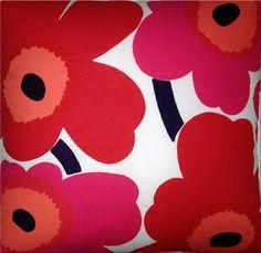Marimekko 'Pieni Unikko' cushion in pink, red and white 43x43cm