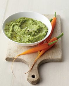 Instead of hummus, try a minted pea dip that will make your chickpeas green with envy. Mint contains volatile oils that relax the stomach muscles to relieve any post-lunch indigestion.Get the Minty Pea Dip Recipe Pate Recipes, Dip Recipes, Whole Food Recipes, Super Healthy Recipes, Healthy Foods To Eat, Healthy Snacks, Vegetarian Recipes, Caramelized Shallots, Mediterranean Diet Recipes