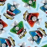 Fast Friends Thomas the Train Character Toss Blue Cotton Fabric