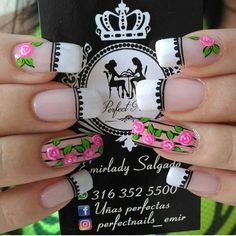 Lindo Rose Nails, Flower Nails, Diy Nails, Swag Nails, Airbrush Nails, Vintage Nails, Magic Nails, Unicorn Nails, French Tip Nails