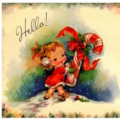 Vintage Christmas Card Image On CD Cute Little Girl Candy Cane