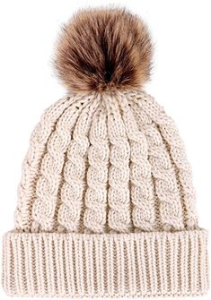 Livingston Women's Winter Soft Knitted Beanie Hat with Faux Fur Pom Pom - Cream Faux Fur Pom Pom, Pom Pom Hat, Beanie Hats For Women, Cute Beanies, Warm Winter Hats, Winter Wear, Knit Beanie Hat, Cotton Beanie, Fashion Clothes
