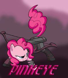 Like hawkeye but its pinkie pie, pinkeye pony