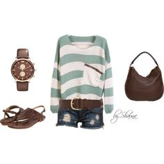 Loose striped sweater with pocket, created by shauna-rogers on Polyvore