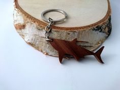 Wooden Shark Keychain Walnut Wood Animal Keychain by PongiWorks