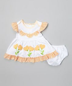 Look at this #zulilyfind! Light Orange Heart Dress & Diaper Cover - Infant #zulilyfinds