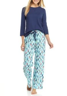Kim Rogers  3-Piece Dot Penguin Pajama Set