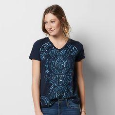 Women's Graphic V-Neck Tee, Size: Medium, Dark Blue
