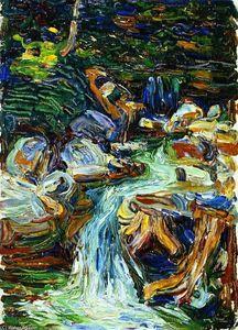Expressionismus in Deutschland — Wassily Kandinsky, Waterfall II, 1902 Henri Matisse, Abstract Landscape Painting, Landscape Paintings, Landscapes, Oil Paintings, Monet, Art Kandinsky, Wassily Kandinsky Paintings, Art Abstrait