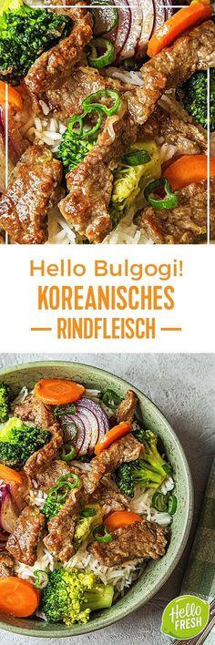 Step by Step Rezept: Hello Bulgogi! Koreanisches Rindfleisch Kochen / Essen / Ernährung / Lecker / Kochbox / Zutaten / Gesund / Schnell / Frühling / Einfach / DIY / Küche / Gericht / Blog / Leicht / selber machen / backen  / Koreanisch / Rind / Reis / Jasminreis / asiatisch  #hellofreshde #kochen #essen #zubereiten #zutaten #diy #rezept #kochbox #ernährung #lecker #gesund #leicht #schnell #frühling #einfach #küche #gericht #trend #blog #selbermachen #backen #bulgogi #koreanisch #reis…