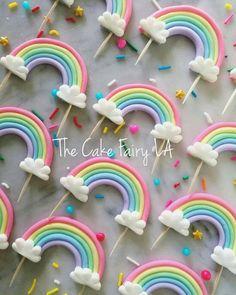 Rainbows & Unicorns Fondant Cupcake Toppers - The Cake Fairy LA - Rainbow Fondant Cupcake Toppers, Unicorn Cupcakes Toppers, Rainbow Birthday, Unicorn Birthday Parties, Unicorn Party, Cake Birthday, Cupcakes Decorados, Rainbow Cupcakes, Fondant Rainbow