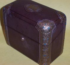 1860's Perfume Scent Casket in Leather Box with Brass Ormolu