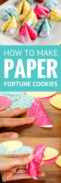 How To Make Paper Fortune Cookies -- These cute DIY paper fortune cookies are super easy to make! Not just for Chinese New Year, they're great for Valentine's Day, wedding favors, birthday parties, and much more... | paper crafts | paper fortune cookie | easy crafts | paper fortune cookie template | fortune cookie origami instructions | find the tutorial on unsophisticook.com #valentinesday #chinesenewyear #fortunecookies #papercrafts