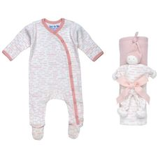 Under The Nile Matching Set-Pink Hooded Blanket Toy Gift Set Hello plus Side Snap Footie Blush-NB
