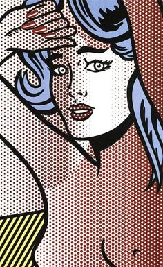 Nude with Blue Hair (C. by Roy Lichtenstein. Celebrated as a major leader of Pop art movement alongside contemporaries like Andy Warhol and James Ros. Roy Lichtenstein Pop Art, Online Galerie, Kunst Online, Jasper Johns, Art Pop, Andy Warhol, Pop Americano, Richard Hamilton, Pop Art Movement